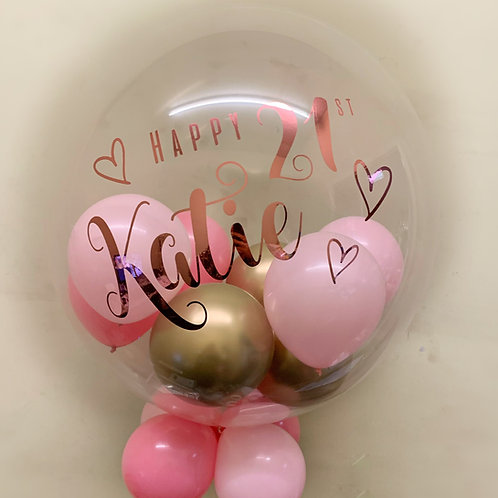 "21st Birthday Pastel Pink & Gold - Bubble ""Gumball"" Balloon"