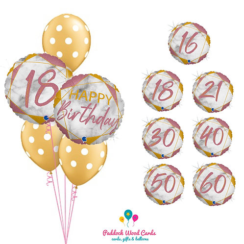 Pink Marble - Classic Bouquet (5 balloon)