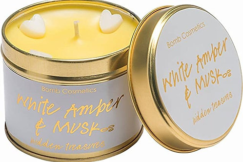 Luxury tinned candle- white amber and musk