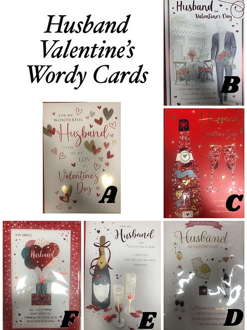 Valentines Cards - HUSBAND (Lots of Words!)