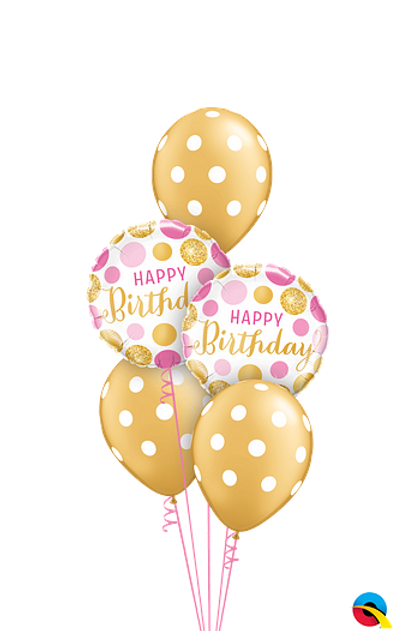 PINK & GOLD Birthday 5 Balloon  Classic Bouquet