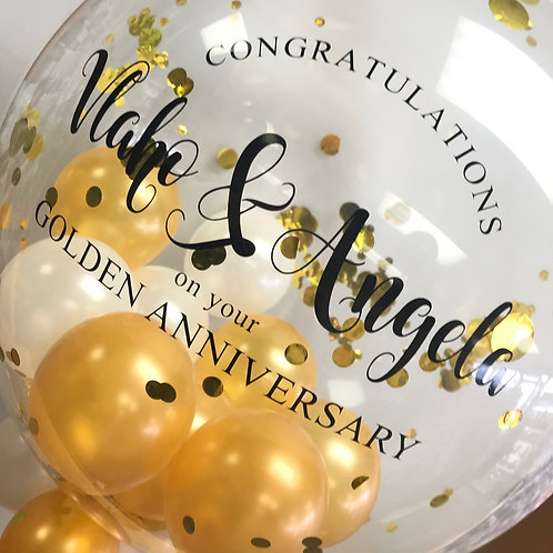"Golden Anniversary - Bubble ""Gumball"" Balloon"