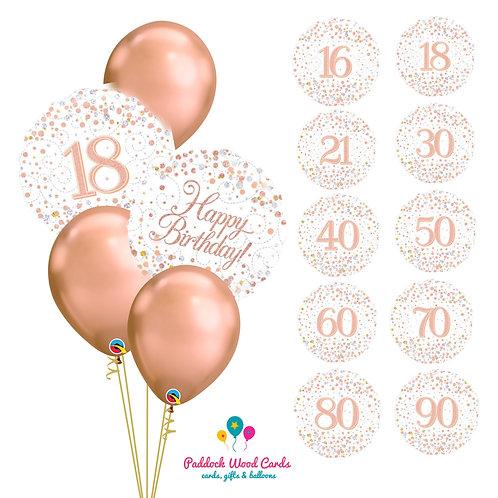 Rose Gold Sparkle - Classic Bouquet (5 balloon)