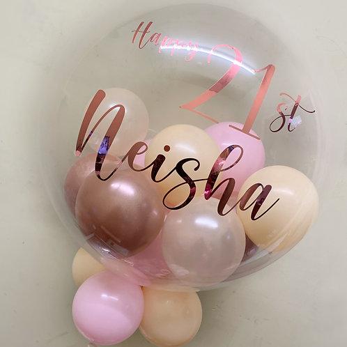 """21st Birthday Pastel blush - Bubble """"Gumball"""" Balloon"""