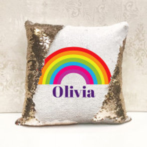 Rainbow Sequin Cushion - add any name