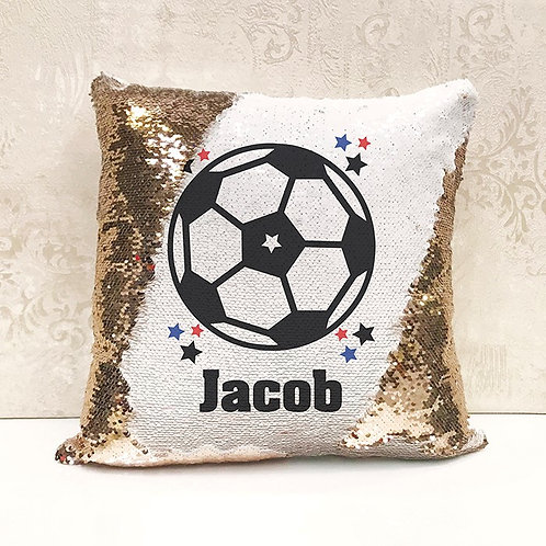 Sequin Cushion - Football (Personalised Name)