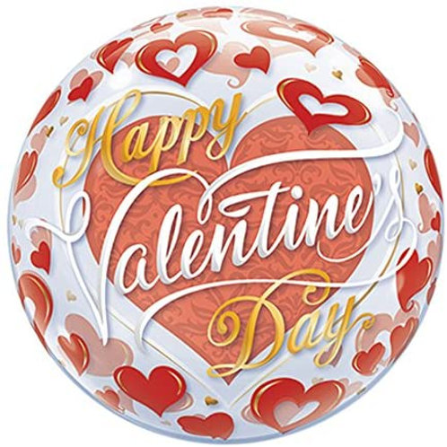"""22"""" Round Printed Clear Bubble Balloon - Filled with helium, ribbon+weig"""