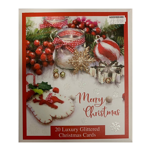 Christmas Glittered box cards - 20 cards/2 designs