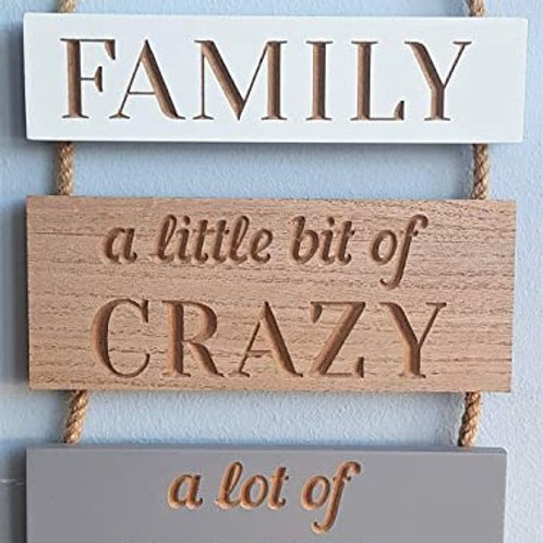 Family 4 piece hanging sign