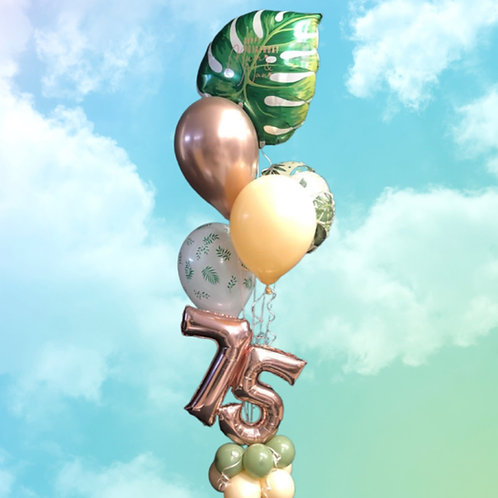 Number combo Bouquet (5 helium balloon on base with 2 numbers)