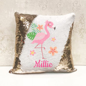 Sequin Cushion - Flamingo (Personalised Name)