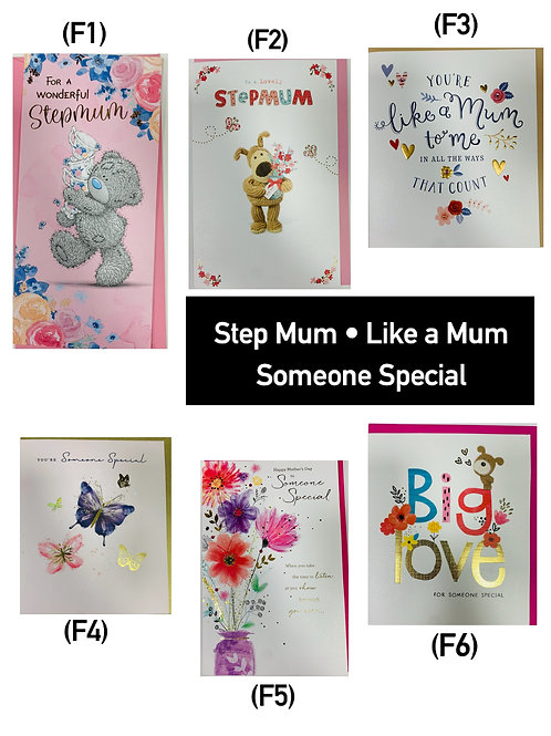 Mother's Day Cards -STEP MUM, LIKE A MUM, SOMEONE SPECIAL