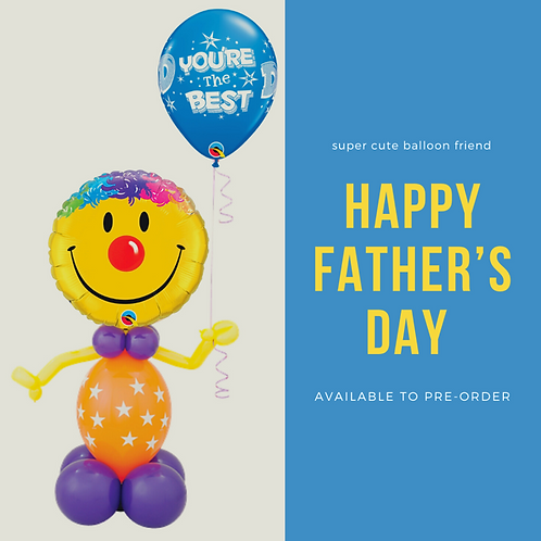 Happy Father's Day Balloon Friend holding a latex balloon
