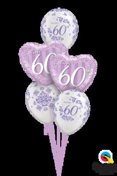 60th Diamond Anniversary Balloon Bouquet (5 balloon)