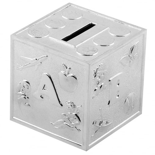 Silver plated ABC cube money box
