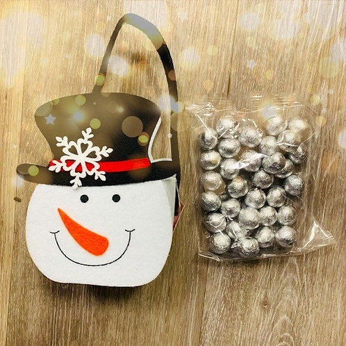 Snowman Felt Bag with wrapped chocolate balls