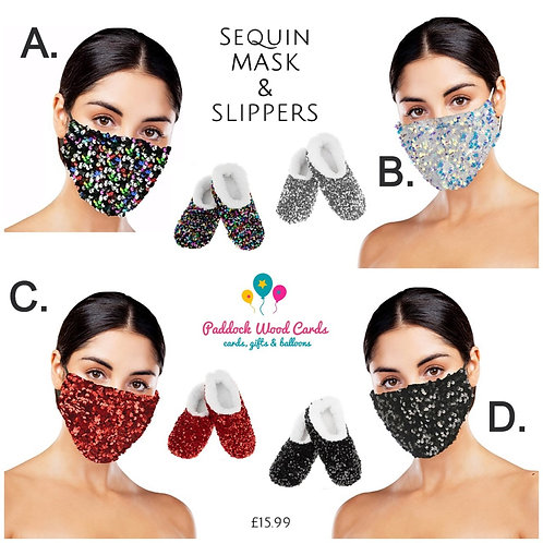 1x Slipper (medium)  & 1x FaceMask - Sequin colours