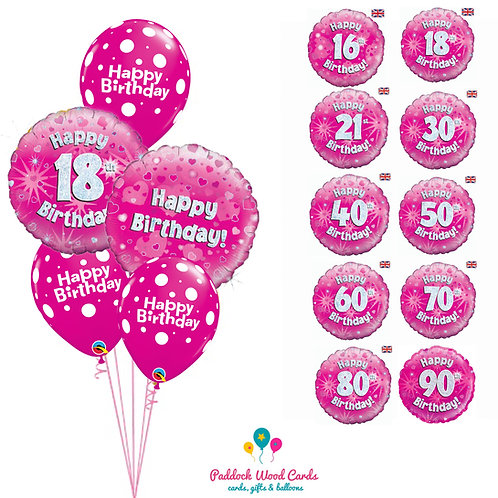 Pink Sparkle - Classic Bouquet (5 balloon)