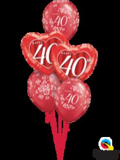 40th Ruby Anniversary Balloon Bouquet (5 balloon)