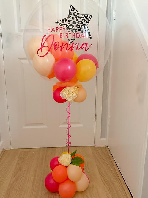 "Pretty Bright Birthday - Bubble ""Gumball"" Balloon - +flowers/base"