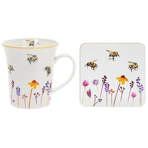 Busy bees mug and coaster set
