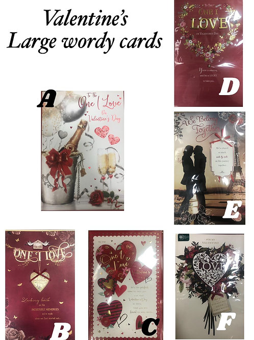 Valentines Cards - LARGE (Wordy)