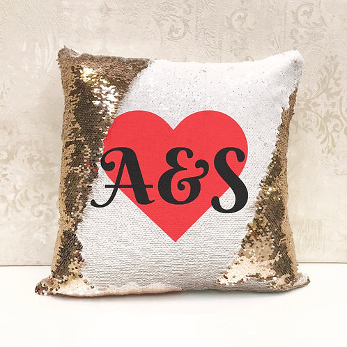 Sequin Cushion - Love Heart Initials (Personalised Name)