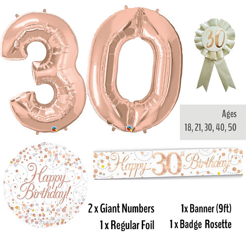 30th Rose Gold Birthday - Balloon Package