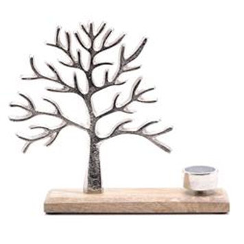 TREE OF LIFE METAL & WOOD TEALIGHT HOLDER