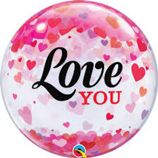 """22"""" Round Printed Clear Bubble Balloon - Filled with helium, ribbon+weight"""