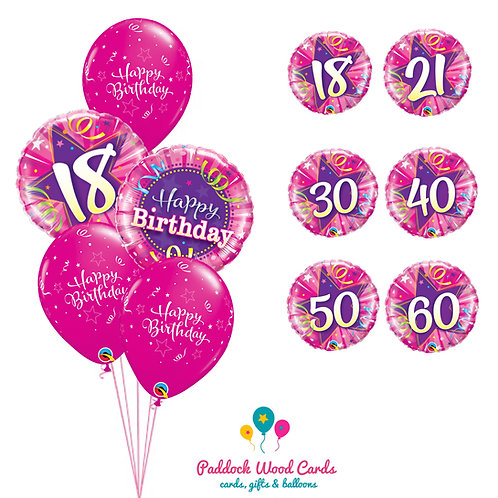 Pink - Classic Bouquet (5 balloon)