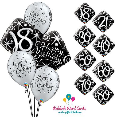Black & Silver - Classic Bouquet (5 balloon)