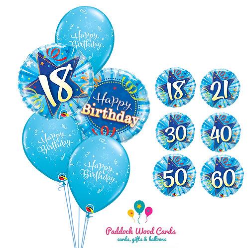 Blue - Classic Bouquet (5 balloon)