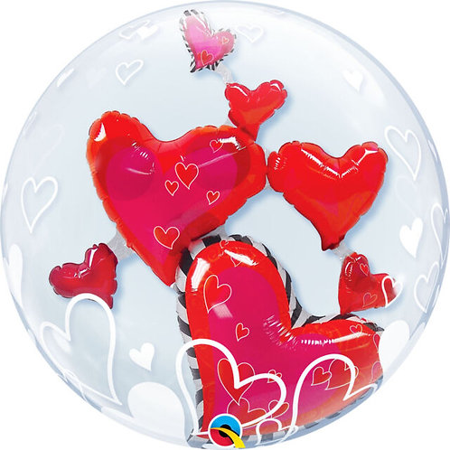"22"" Round Printed Clear DOUBLE  Bubble - Filled with helium, ribbon+weight"