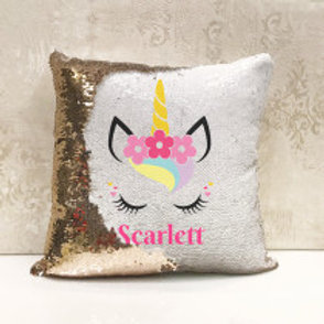 Unicorn Sequin Cushion - add any name