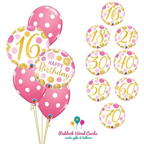 Pink & Gold Spot - Classic Bouquet (5 balloon)