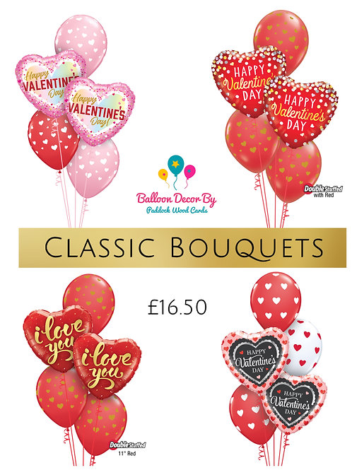 1 x 5 balloon bouquet - helium filled Designs vary)