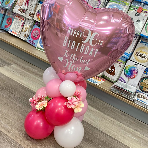 Table Top - Heart Foil  (any colours/any message) with flowers