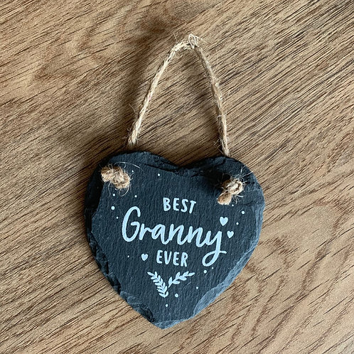 Granny - Small heart slate hanging sign