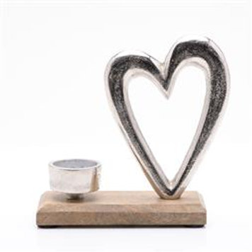 HEART METAL & WOOD TEALIGHT HOLDER