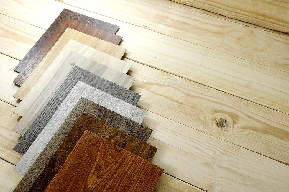 wood texture floor Samples of laminate and vinyl floor tile on oak wooden Background for n