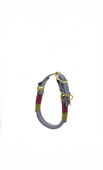 Flat rope collar - earth tones