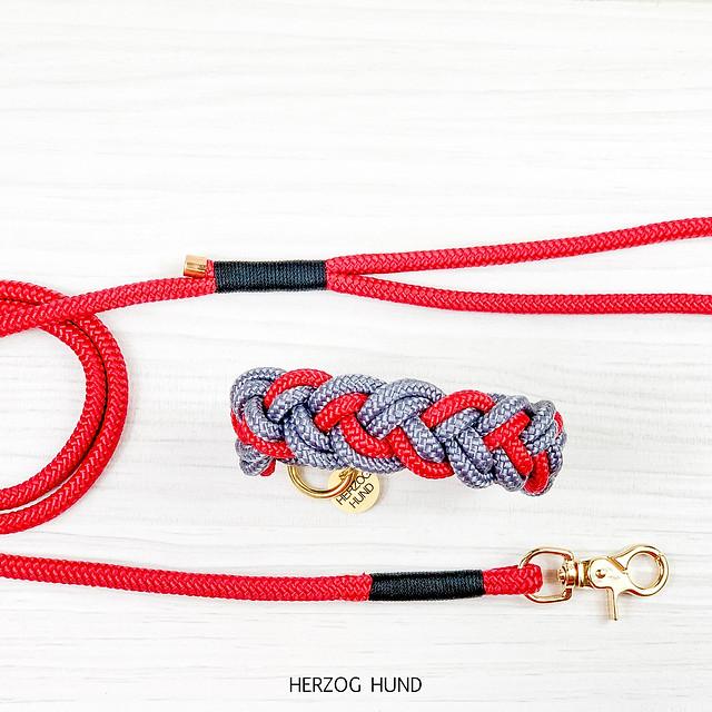 Flechthalsband Rot x Grau