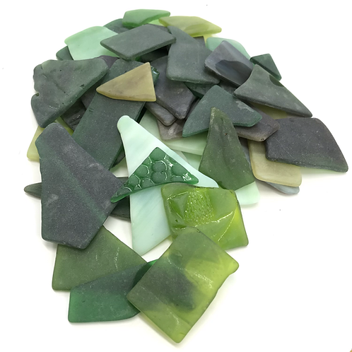 Tumbled Stained Glass (Greens)