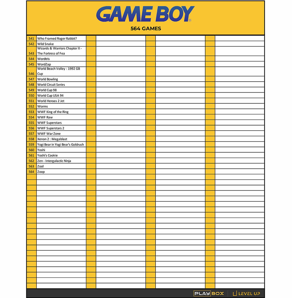 PlayBox Game Boy Game List