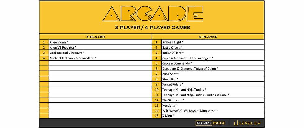 PlayBox Arcade Multi-player Game List