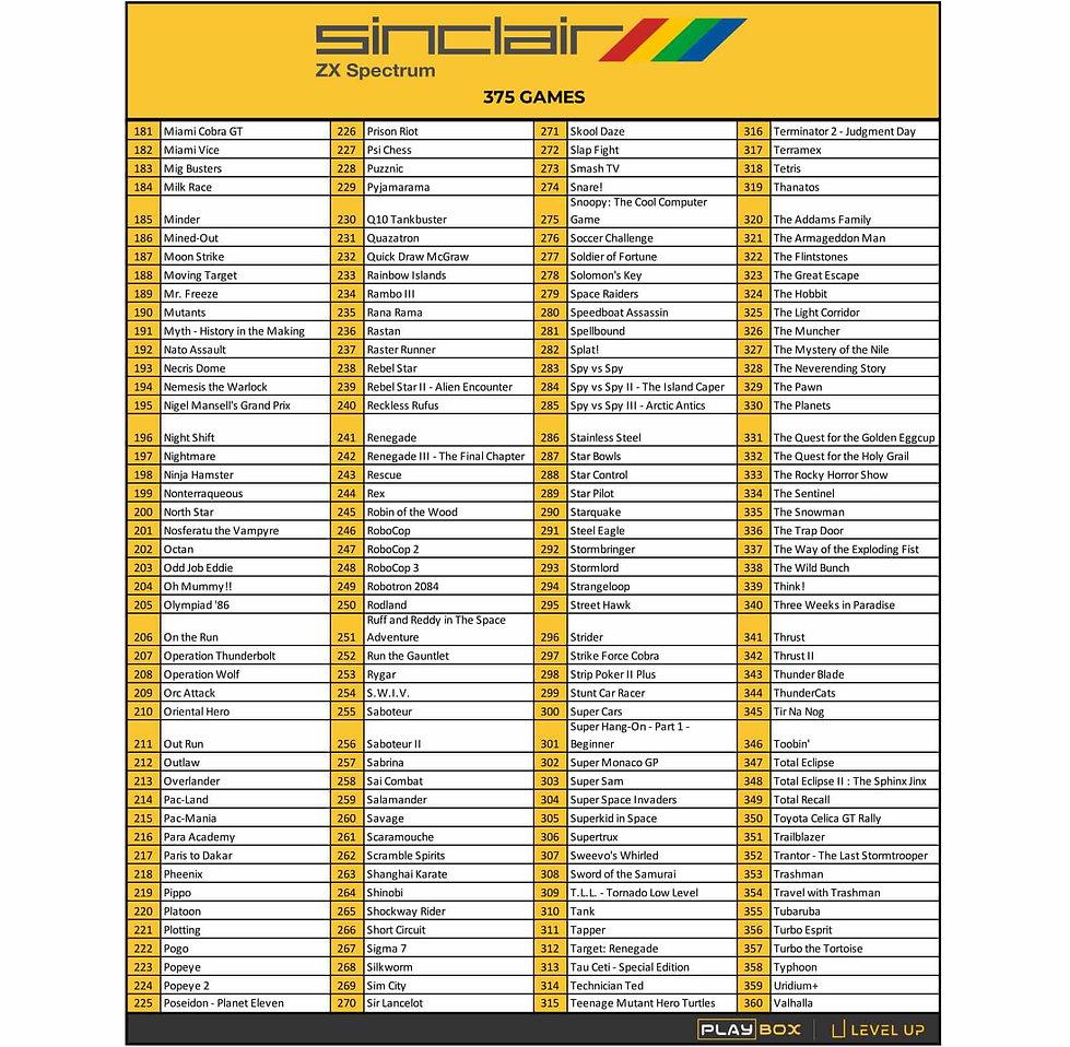 PlayBox ZX Spectrum Game List