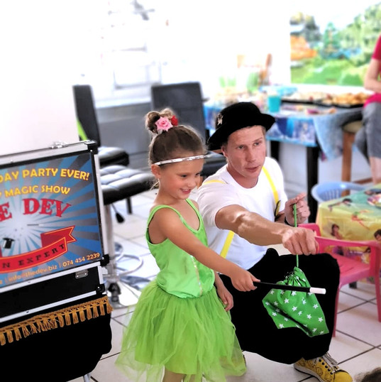 """""""The Dev put on an excellent, fun and happy show for our 5 year olds birthday. He had the children spellbound and laughing throughout and extra special little touches for the birthday boy! Even the adults loved it! I highly recommended him as he was great entertainment, professional and friendly and wonderful with the children."""" - Mandy Schreiber"""
