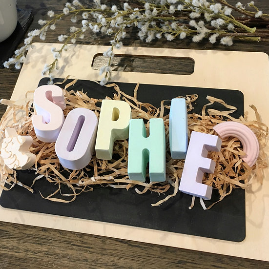 Girl's Personalised Chalk Set with TIMBER Chalkboard