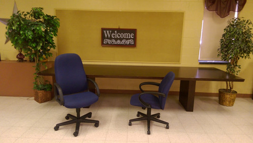 Conference Room Table Large And Blue Chairs With Rollers - Large conference table for sale